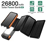 Solar Charger 26800mAh 6W, PD 18W Fast Charger,with Ultra-Bright 21 LED Light Flashlight,Solar Charger for Tablet, Mobile Phone, iPhone, Samsung, Huawei, etc.