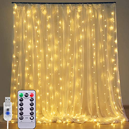Cortina de Luces, 3M*3M 300 LED Luces de Cadena de Cortina Luz de Cortina USB con Mando a Distancia 8 Modos de Luz, Resistente adecuada para Decoración Ventana,Navidad,Fiestas(Blanco cálido)