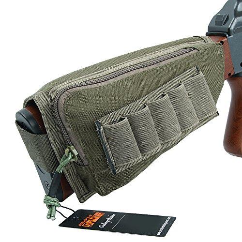 EXCELLENT ELITE SPANKER Tactical Buttstock Shotgun Rifle Shell Holder for Cheek Rest Ammo Holder Pouch(Ranger Green)