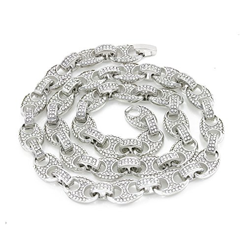 Men's Bling Icy Mariner Link Choker Necklace/Bracelet Silver Finish Lab Created Diamonds 10MM (8.5-30 inches) (Chain 24'')