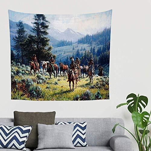 BOIPEEI Native Indian Horses Mountain Forest Print Wandbehang Wandteppich Dekor Stoff Wandteppich Wandkunst Komplizierte Wanddekoration 3D Vision Party Hintergrunddekoration Weiß 100Cmx70Cm