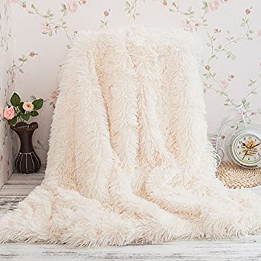 Faux Fur Throw Blanket, Super Soft Shaggy Longfur Throw Blanket, Snuggly Fuzzy Faux Fur Lightweight Warm Elegant Cozy Plush Microfiber Blanket for Couch Bed Chair Photo Props (White, 63  x 79 )