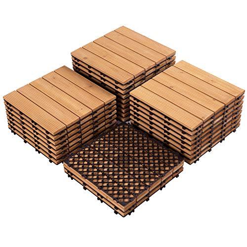 Yaheetech 27PCS Interlocking Wood Flooring Deck Patio Pavers Tiles Solid Wood and Plastic Corner Edging Trim Tiles Indoor Outdoor 12 x 12in Natural Wood