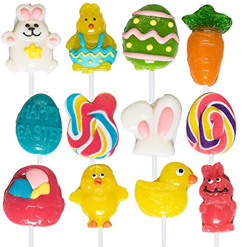 Easter-Themed Lollipops (12 Pack) Great for Easter Party Favor, Party Decoration or Goody Bag Fillers
