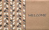 玄関マット 北欧Welcome Series 50×80cm 全7デザイン (Welcome Leaf beige)