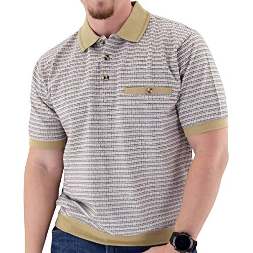 Classics by Palmland Short Sleeve 3 Button Banded Bottom Knit Collar White (XXL, White)