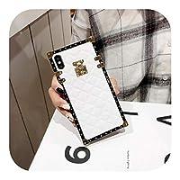 LLYAP ソフトラムスキンPUレザーケースfor iPhone 12 Mini 11 Pro X XR XS Max Luxury Lattice Vintage Square Plaid Back Cover 6 7 8 Plus-White-for iPhone 7 8 Plus