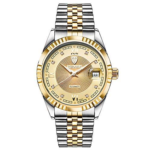 Relojes automáticos de Moda para Hombre Relojes mecánicos Luminosos Reloj de Hombre Esqueleto con Esfera Dorada Relojes de Pulsera para Hombres de Negocios