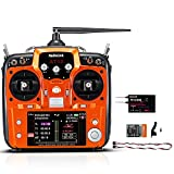 Radiolink AT10II 12 Channels RC Transmitter and Receiver R12DS 2.4GHz Radio Remote Controller Airplane Voltage Monitor for RC FPV Racing Drone, Quad, Helicopter, Car (Mode 2 Left Hand Throttle)