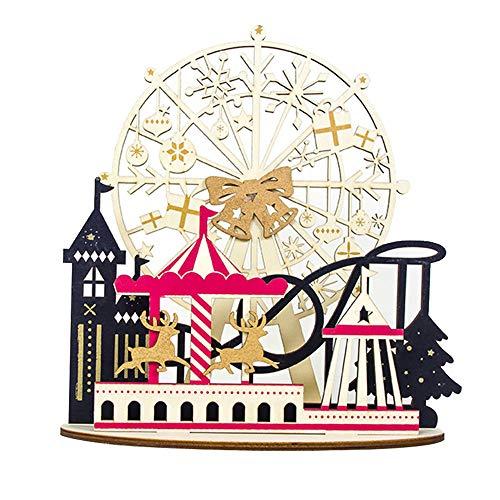 JIANJIAN Decorações de Natal, ornamento pintado de madeira, decoração de mesa de Natal, conjunto caseiro, roda gigante de Papai Noel, cavalo de troia, presente de crianças