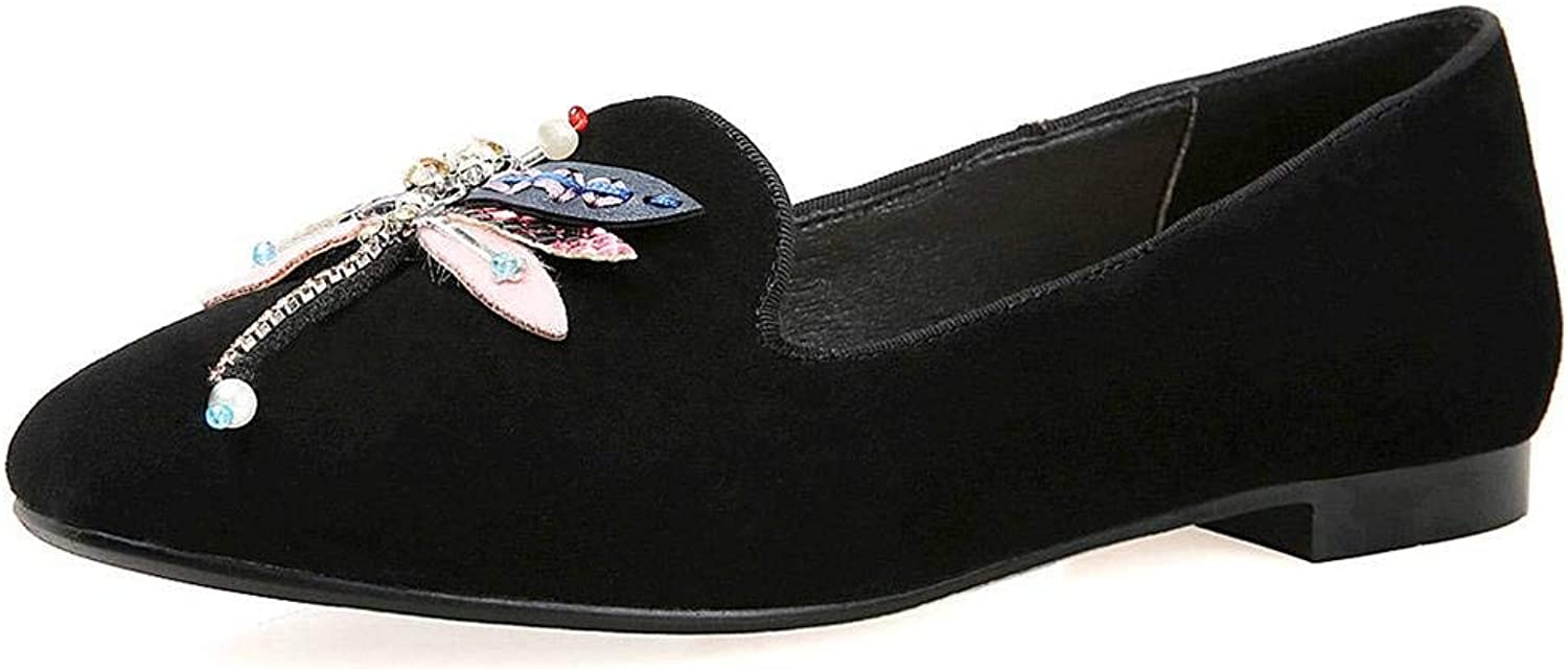 U-lite Women's Dragonfly Decoration Low Heel Comfy Slip-on Loafers