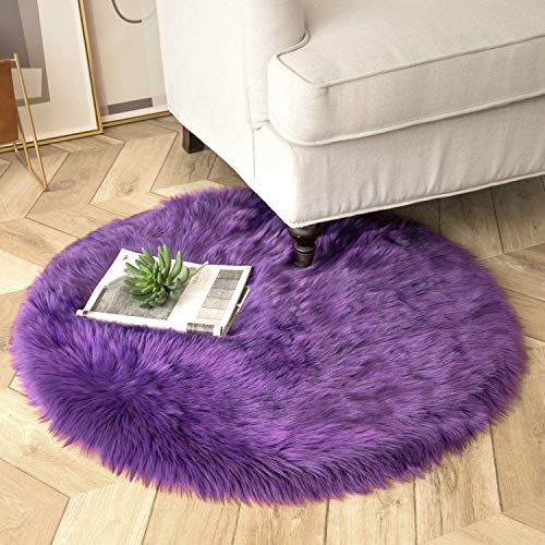 Ashler Ultra Soft Fluffy Area Rug Faux Fur Sheepskin Carpet Chair Couch Cover for Bedroom Floor Sofa Living Room, Purple Round 3 x 3 Feet