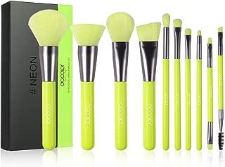 Docolor 10 pieces Makeup Brushes Set Synthetic Foundation Blending Face Powder Eyeshadow Kabuki Cosmetic brushes kit (highlighter yellow)