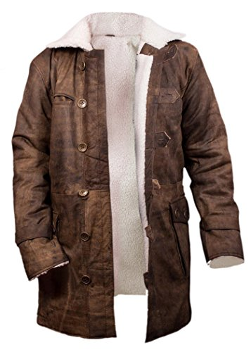 Flesh & Hide F&H Men's Bane Genuine Distressed Cowhide Leather Shearling Coat