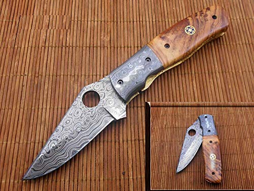 Damascus Steel Blade Folding Knife with with Finger Hole on Blade Spine, Cow Leather Sheath Included.