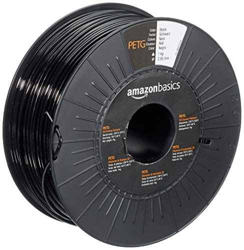 Amazon Basics - Filamento per stampanti 3D, in PETG, 2.85 mm, nero, 1 kg per bobina