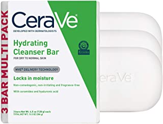 CeraVe Hydrating Cleanser Bar | Soap-Free Body and Facial Cleanser with 5% Cerave Moisturizing Cream | Fragrance-Free | 3-...
