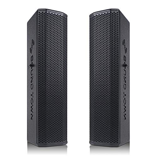 "Sound Town Pair of Passive Wall-Mount Column Mini Line Array Speakers with 4 x 5"" Woofers, Black for Live Event, Church, Conference, Lounge, CARPO-V5B"