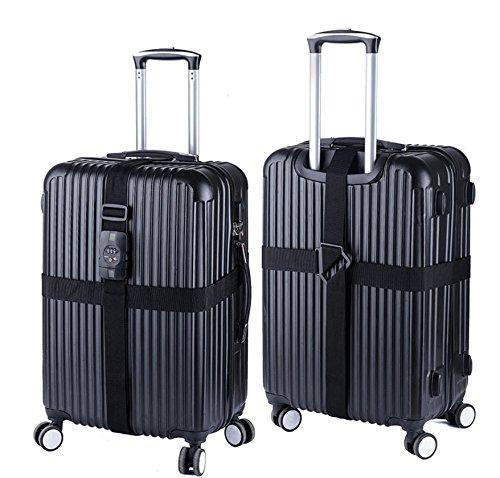 Kingwin Réglable Bagages Reliure Valise d'emballage Strap Ceinture Band avec verrou Cross Noir