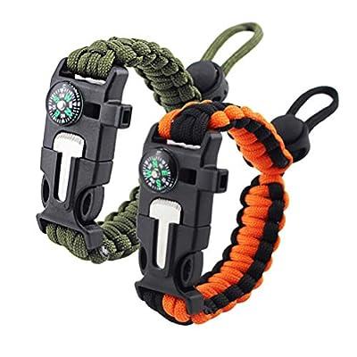 ZHIYE Survival Paracord Bracelet Flint Fire Starter Scraper Compass Wilderness Survival Whistle Adjustable Wristband 2Pack ArmyGreen&BlackOrange…