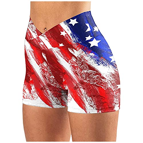 Wocachi Yoga Shorts for Women American Flag Print High Waisted Gym Shorts 4th of July Running Sports Biker Shorts Lounge Shorts for Women Compression Shorts Womens Booty Shorts for Women 2021