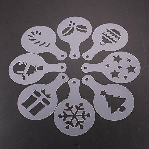 Pochoirs à café et cappuccino, en forme d'ondes et fleurs pour saupoudreuse et pulvérisateur (8 pièces)