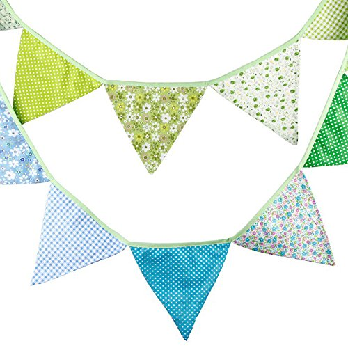 3.3 Meters / 10.8 Feet Triangle Pennant Flags Vintage Bunting Floral Cotton Banner Kit Pennant Garland for Wedding,Festivals,Nursery,Outdoor Pennant Hanging Decoration (Blue Green)