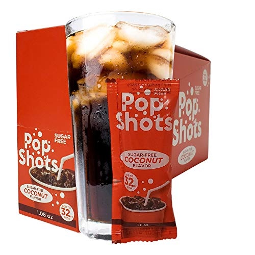 Pop Shots Sugar-Free Coconut Syrup Soda Flavoring, 25 Individual Soda Syrup Mixers, To Use with Personal Fountain Drinks and Soda Cans, Flavored syrups for drinks, On-The-Go Drink Mixers