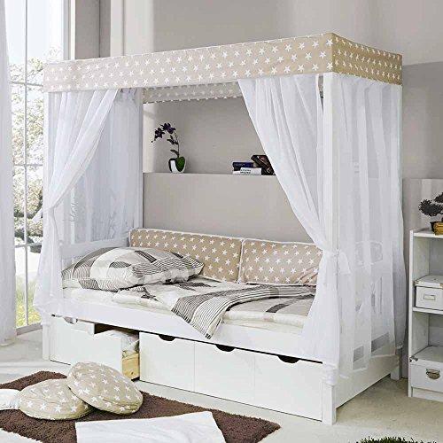 Pharao24 Bett mit Himmel Weiß Beige