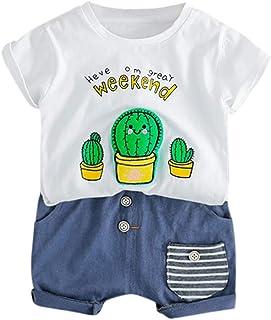 Boys Summer Sunsuit Fartido Kids Casual Outfits Short-Sleeved Cactus Print Top T-Shirt+Shorts Light Blue