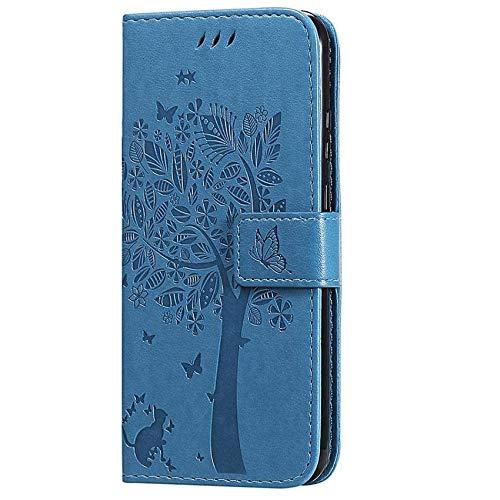 TOPOFU Hülle für Samsung Galaxy S21 Plus 5G,PU/TPU Lederhülle Klapphülle mit [Ständer] [Kartenfach] [Magnetisch],Katze Muster Wallet Handyhülle Brieftasche,Flip Hülle Cover,Blau