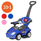 Best Choice Products 3-in-1 Kids Push and Pedal Toddler Ride On Wagon Play Toy Stroller w/ Sounds, Handle, Horn - Blue