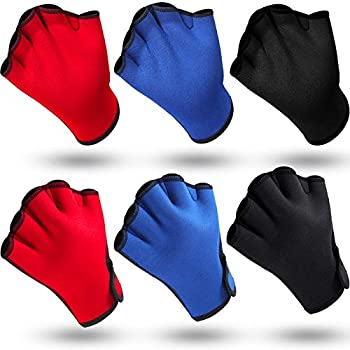 Skylety 3 Pairs Aquatic Gloves Swimming Training Gloves Large Webbed Swim Gloves Fingerless Water Resistance Paddle Gloves for Men Women Diving Surfing Fitness 3 Colors