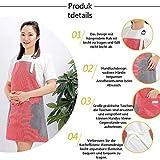 DIFIER Haushalt und Küchen Schürze wasserdichte Verstellbare Schultergurte Frauen Kochschürze (Rot) - 6