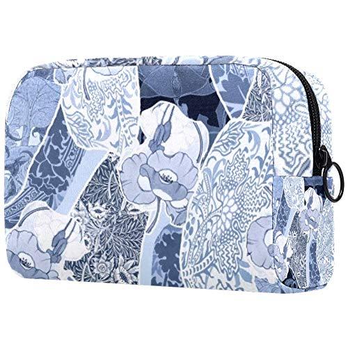 Trousse de toilette portable pour femme avec brosses de maquillage personnalisées - Pour cosmétiques et voyage - Fleurs non raffinées