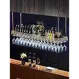 調節可能な高さの天井のワインラックワイングラスホルダーストレージハンガーボトルオーガナイザーとStemwareストレージヨーロッパスタイルの鉄アクリルラミネートとLEDラック