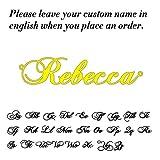 WDam Gargantilla de Acero Inoxidable con Nombre, Collar para Mujer, Placa de identificación Personalizada, Regalo de cumpleaños para Novia, Plateado, 35 cm