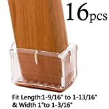 LimBridge Chair Leg Wood Floor Protectors, Chair Feet Glides Furniture Carpet Saver, Silicone Caps with Felt Pads #9, Fit Length 1-9/16' to 1-13/16' (3.9-4.6cm) & Width 1' to 1-3/16' (2.5-3cm) 16 Pack