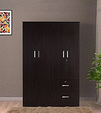 Shilpi Handmade Indian Solid Wood & Board 4 Door with 2 Drawers Wardrobe