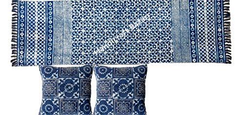 Funda de cojín vintage de 45,7 cm, 2 x 1,8 m, reversible, para pasillo, tela, alfombra de suelo, alfombra cuadrada, funda de almohada de algodón con cremallera, cojín de meditación, alfombra de suelo cuadrada