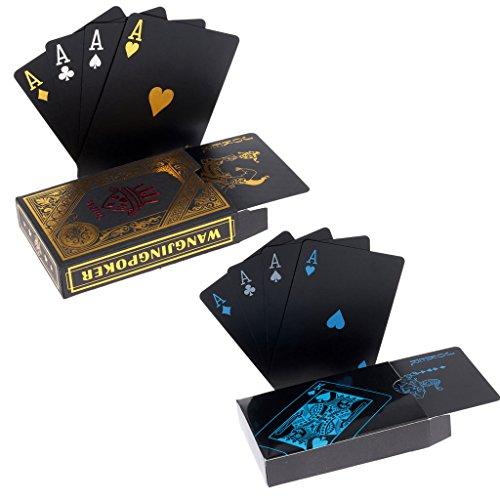 hopewey 2 x Naipes Negro Tarjetas Impermeables del póker Naipes plásticos del PVC Naipes Profesionales Superiores para el póker de Tejas Holdem - 1 Oro y 1 Negro ⭐