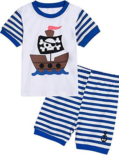 MOMBEBE COSLAND Barco Pirata Pijamas de Manga Corta para niños (3 años,...