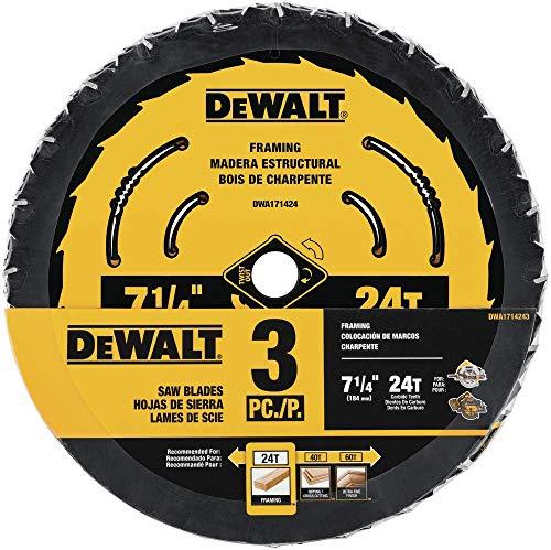 DEWALT DWA1714243 7-1/4-Inch 24-Tooth Circular Saw Blade, 3-Pack