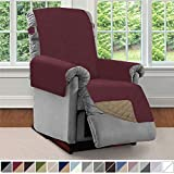 Sofa Shield Original Patent Pending Reversible Small Recliner Protector, Seat Width up to 25 Inch, Furniture Slipcover, 2 Inch Strap, Reclining Chair Slip Cover Throw for Pets, Recliner, Burgundy Tan