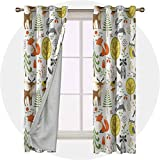 Aishare Store Set of 2 Panels 54 Long Inches Blackout Curtains for Bedroom, Animals,Woodland Fauna with Deer, Thermal Insulated Drapes for Living Room/Nursery/Bedroom