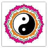 Juego de 2 pegatinas cuadradas impresionantes (10 cm), diseño de símbolo de Yin Yang de color rosa, para ordenadores portátiles, tabletas, equipaje, chatarra, neveras, regalo fresco #5236
