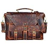 STILORD 'Janus' Bolso de Negocios o maletín de Piel para Hombres Bolso Bandolera o de Mano Grande para DIN A4 MacBook o portátil 13,3' de Cuero auténtico, Color:Kara - Cognac