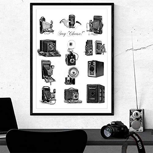 VVSUN Cámaras Vintage Arte Lienzo Pintura Póster Impresiones Fotógrafos Cámaras Antiguas Imagen Decoración de la Pared del hogar 50X70cm 20x28 Pulgadas Sin Marco