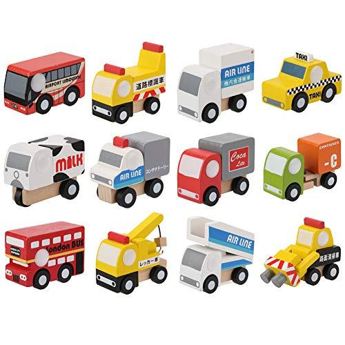 12 Teile Baby Kind Cartoon Spielzeug Fahrzeug Set Holzspielzeug Autos Set Frühe Pädagogische Verkehr Spielzeug Autos Flugzeug Polizei Auto Set Geschenk für Jungen Mädchen Kinder