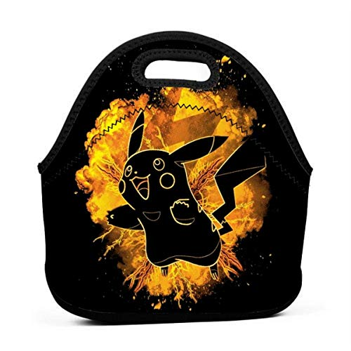 Soul of Thunder Pikachu Poke Men Women Kids Insulated Lunch Bag Tote Reusable Lunch Box for Work Picnic School